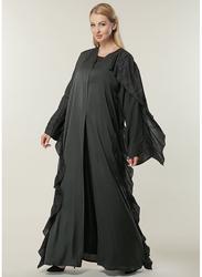 Moistreet Long Sleeve Casual Abaya, Extra Small, Black