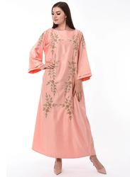 Moistreet Long Sleeve Hand Embroidery Jalabiya, Extra Small, Orange