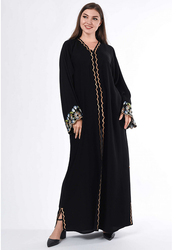 Moistreet Long Sleeve Embroidery Abaya, Double Extra Large, Black/Gold