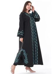 Moistreet Long Sleeve Embroidery Abaya, Extra Large, Black/Turquoise