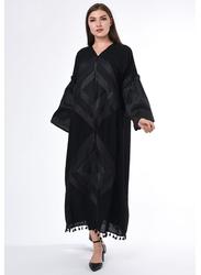 Moistreet Long Sleeve Exotic Abaya, Medium, Black