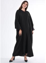 Moistreet Long Sleeve Embroidery Abaya, Extra Large, Black