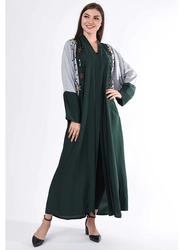 Moistreet Long Sleeve Hand Embroidery Abaya, Medium, Green/Grey