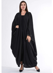 Moistreet Long Sleeve Flayered Cape Abaya with Hand Buck Stitch Details, Double Extra Large, Black