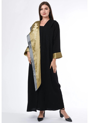 Moistreet Long Sleeve Contrast Panel Abaya with Embroidery Patchwork, Extra Large, Black