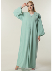 Moistreet Long Sleeve V-Neck Handwork Abaya, Extra Large, Sea Green