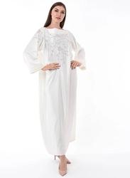 Moistreet Long Sleeve Hand Embroidery Jalabiya, Small, White