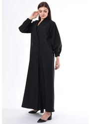 Moistreet Long Sleeve Coat Style Abaya, Large, Black