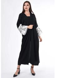 Moistreet Hand Embroidered Contrast Long Sleeve Abaya, Extra Small, Black