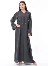 Moistreet Long Sleeve Hand Embroidery Abaya, Small, Grey