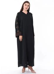 Moistreet Long Sleeve Hand Embroidery Exotic Abaya, Medium, Black