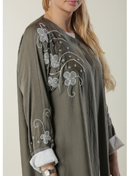 Moistreet Long Sleeve Embellished Handwork Elegant Abaya, Extra Large, Green