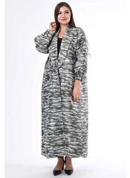 Moistreet Long Sleeve Modern Coat Style Jacquard Abaya, Small, Grey