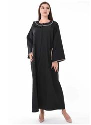 Moistreet Long Sleeve Pleated Neck Detailing Abaya, Large, Black