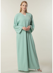 Moistreet Long Sleeve V-Neck Handwork Abaya, Large, Sea Green