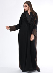 Moistreet Long Sleeve Coat Style Feather Detail Colorblock Abaya, Extra Large, Black/Brown