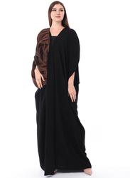 Moistreet Long Sleeve Uniquely Styled Abaya, Small, Black/Orange/Navy Blue