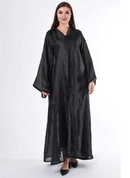 Moistreet Long Sleeve Feather Detail Abaya, Extra Small, Black