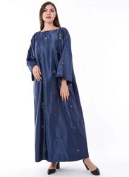 Moistreet Round Neck Long Sleeve Hand Embroidery Jalabiya, Double Extra Large, Navy