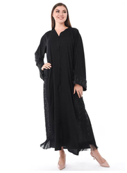 Moistreet Long Sleeve Hand Embroidery Exotic Abaya with Patchwork, Small, Black