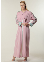 Moistreet Long Sleeve Hand Embroidered Details Abaya, Medium, Pink