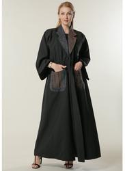 Moistreet Long Sleeve Contrast Collar and Pockets Abaya, Double Extra Large, Black