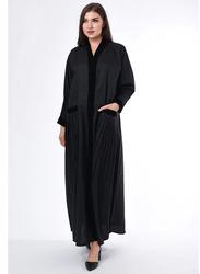 Moistreet Long Sleeve Pleated Detail Abaya, Extra Small, Black