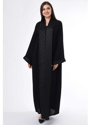 Moistreet Long Sleeve Hand Embroidery Abaya with Patchwork, Small, Black
