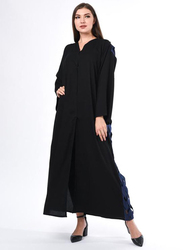 Moistreet Long Sleeve Criss Cross Detail Design Abaya, Small, Black/Blue