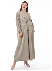 Moistreet Long Sleeve Coat Style Abaya, Extra Small, Beige