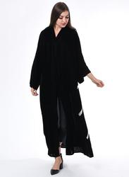 Moistreet Long Sleeve Hand Embroidery Abaya, Extra Small, Black