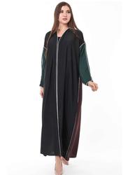 Moistreet Long Sleeve Colorblock Abaya, Extra Small, Multicolor