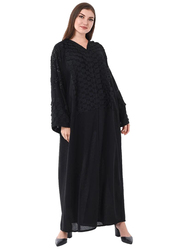 Moistreet Long Sleeve Checkered Panels Abaya with Hand Embroidery, Double Extra Large, Black