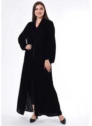 Moistreet Long Sleeve Velvet Abaya, Extra Large, Black