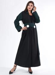 Moistreet Long Sleeve Coat Style Abaya, Extra Small, Black/Green
