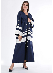 Moistreet Long Sleeve Colorblock Abaya, Small, Navy/White