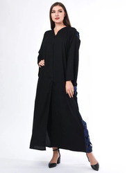 Moistreet Long Sleeve Criss Cross Detail Design Abaya, Small, Black