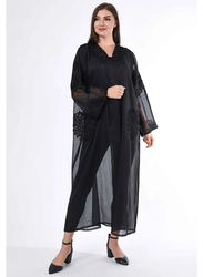 Moistreet Long Sleeve Hand See Through Abaya with Hand Embroidery Detail, Double Extra Large, Black