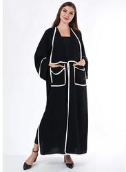 Moistreet Long Sleeve Pocket Detail Abaya, Small, Black/White
