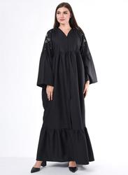 Moistreet Long Sleeve Hand Embroidery Hem Detailing Abaya, Large, Black