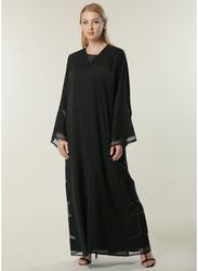 Moistreet Long Sleeve Formal Abaya, Small, Black