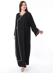 Moistreet Long Sleeve Hand Pearl Work Abaya, Large, Black