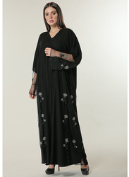 Moistreet Long Sleeve Hand Flower Embroidered Motifs Abaya, Extra Large, Black