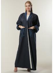 Moistreet Long Sleeve Casual Abaya with Pockets, Extra Large, Navy