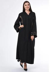 Moistreet Long Sleeve Hand Embroidery Exotic Abaya, Extra Small, Black