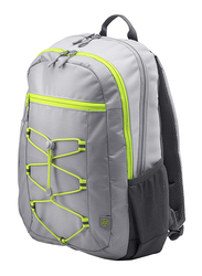 HP Active 15.6-inch Backpack Laptop Bag, Water Resistant, Grey/Neon Yellow