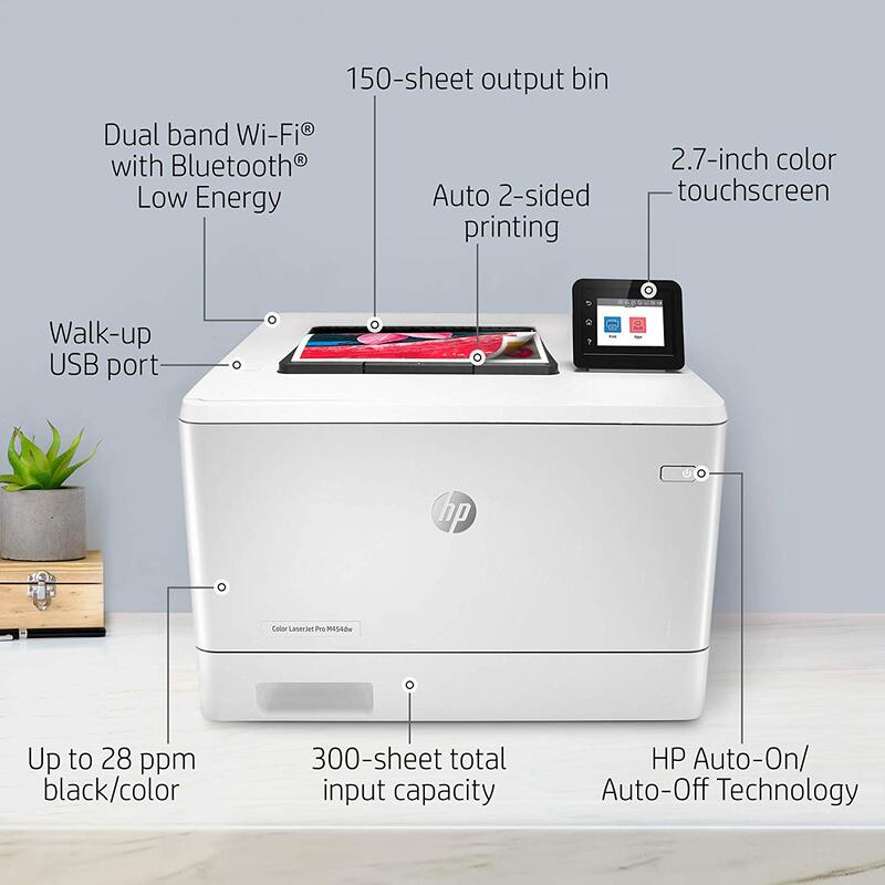 HP Color LaserJet Pro M454DW W1Y45A Laser Printer, White