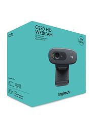 Logitech C270 HD Webcam, Black/Grey