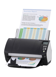 Fujitsu Fi-7260 Color Duplex Document Scanner, 600DPI, White LED Array Display, Black/White