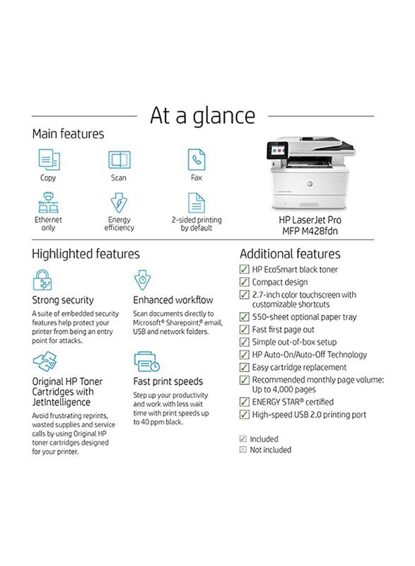 HP LaserJet Pro MFP M428FDN W1A29A All-in-One Printer, White